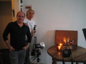 Sergio Pagano e Ecio durante a sessão de fotos para revista Gastronomia Carioca Estação Zona Sul